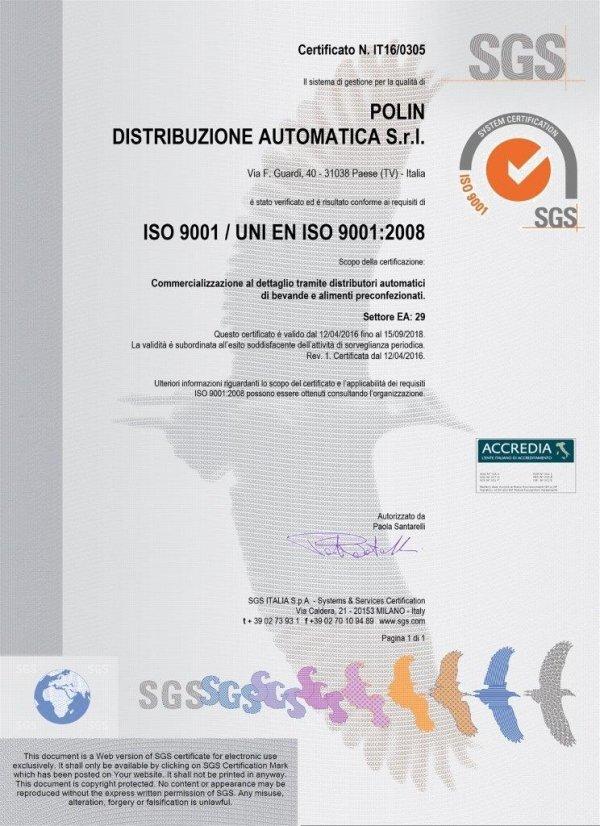 Polin Distribuzione - Certificato SGS